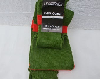 Mary quant vintage 80s leg warmers green acrylic wool urban accessory womens boot socks gifts for her 80s indie hippie leg warmers festival