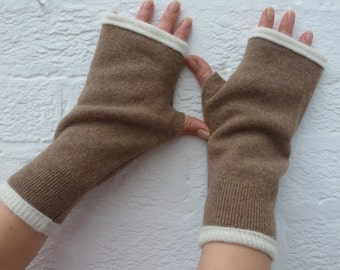 Mens gloves cashmere accessory gift mens winter mittens womens gloves handmade accessory wool handwarmers brown gloves fingerless mitts wool