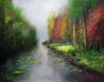 "Landscape Painting, ""Serene Canal"" Contemporary Wall Art, Original Painting, Acrylic Painting, Wall Art Canvas, 50cm(w) x 40cm(h)"