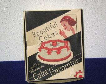 Vintage aluminum CAKE DECORATOR Set #2804 with 6 tips