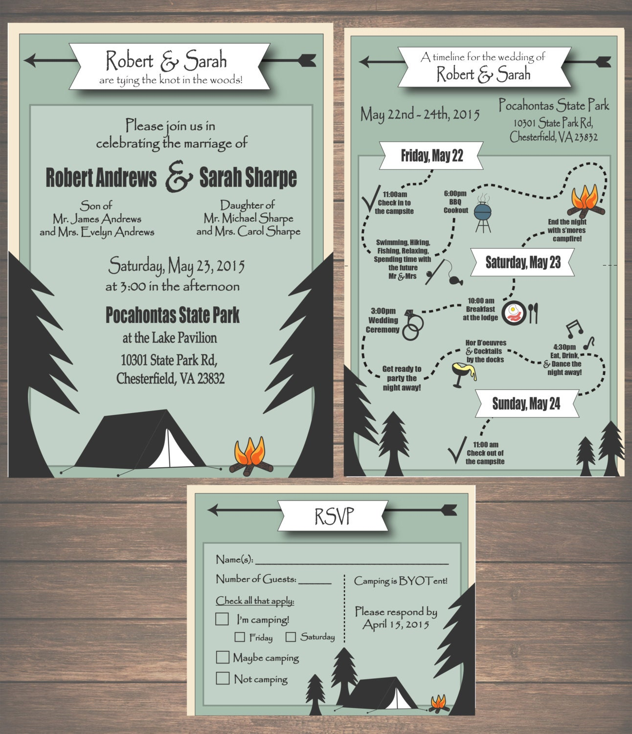 Printable Camping Wedding Invitation Kit Invitation Weekend