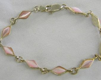 "Sterling Silver 925 Beautiful Pink Triangle Bracelet, 6 3/4"" Long #6204"