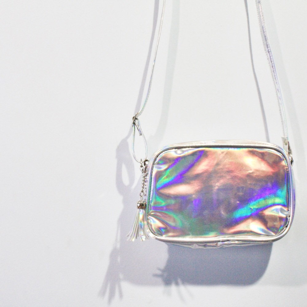 Hologram Silvers: Silver Holographic Cross Body Bag Hologram Purse Pouch