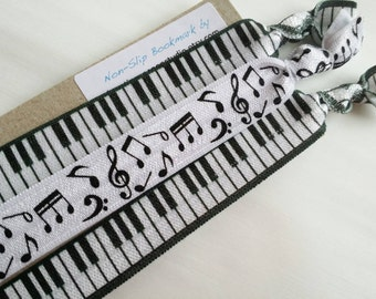 Piano music bookmarks, set of 3 elastic no slip bookmarks, music teacher gift, piano teacher gift, musician, notes, FOE, hardcover paperback