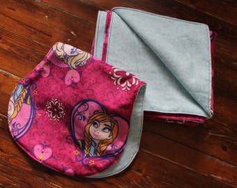 Minky Baby Blanket & Burp Cloth - FROZEN Print Set - Boutique Baby Girl, Flannel, Shower Gift