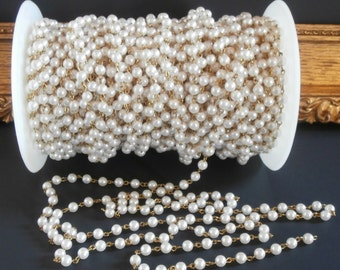 Vintage Faux Pearl Chain ~ Brass Wire 6mm Pearl Size ~ Chain Per Foot ~ 5 Feet Per Order ~ Jewelry Chain ~ Jewelry Making Jewelry Findings