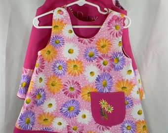 Reversible Dress 24 months / 2T Daisy Embroidery