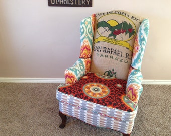 Beautiful Upholstered Vintage Wingback with Coffee Sack and Color