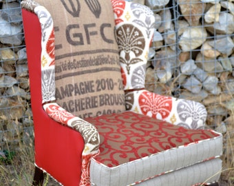 "Wingback Accent Chair Vintage Upcycled Upholstered with Burlap Coffee Sack - ""The Red One"""