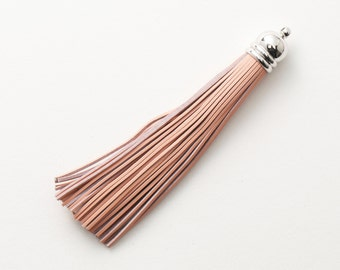 4001192 / Light Pink / Genuine Leather Tassel / Rhodium Plated Brass Cap 12mm x 98mm / 7.5g / 60strands / 1pcs