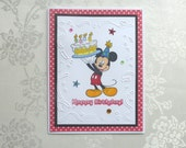 Mickey Mouse Happy Birthday Handmade Card, Mickey Holding Birthday Cake, Embossed Streamers Background, Perfect for All Ages
