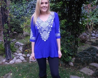 Tunics, Tunic Top, Women's Clothing, Western, Ethnic, Ladies Clothing, Royal Blue with White, S M L XL 2X 3X, V Neck, 3/4 Bell Sleeve