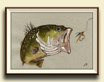 PRINT-Black bass fish - Art Print by Juan Bosco