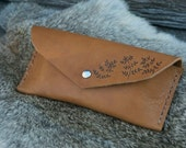 Tan eye glass case - leather eye glass case