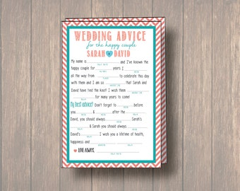 Wedding Advice Card, Wedding Mad Libs, DIY Printable, Marriage Advice, Reception Table Card, Wedding Game, hearts, mint and coral