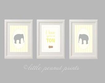 8x10 or 11x14 Elephant Trio Nursery Art Prints | Set of Three Elephant Nursery Decor | Grey and Yellow Nursery Art