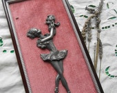 French Pewter Ballerina Frame Pink Velvet Vintage Burgundy Wood Frame