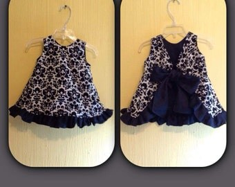 Ruffled Black and Cream Damask Pinafore(Lined) ~ Ready to Ship