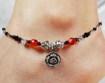 Anklet, Ankle Bracelet, Rose Flower Charm, Red Jet Black, Swarovski Crystal, Gift for Her, Rose Jewelry, Red Anklet