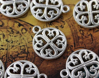 10 Four Leaf clovers Charms Four leaf Clovers Pendants Antiqued Silver Double Sided 15 mm