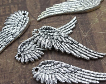 10 Large Angel Wing Charms Bird Wing Pendants Antiqued Silver Tone 17 x51 mm