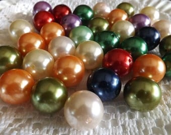 20 mm pearl beads 20 assorted acrylic beads 20 round imitation pearl beads gumball bead