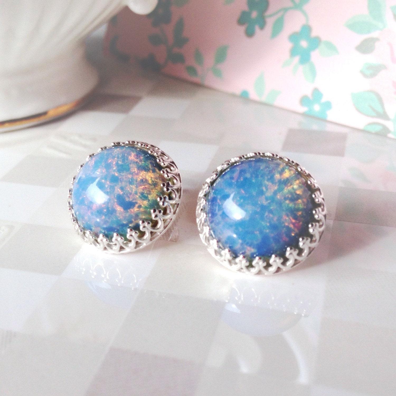 blue opal earrings blue glass opal earring glass opal stud. Black Bedroom Furniture Sets. Home Design Ideas