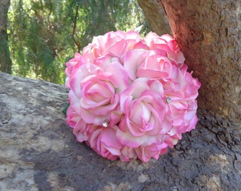 Bridal bouquet in real touch roses