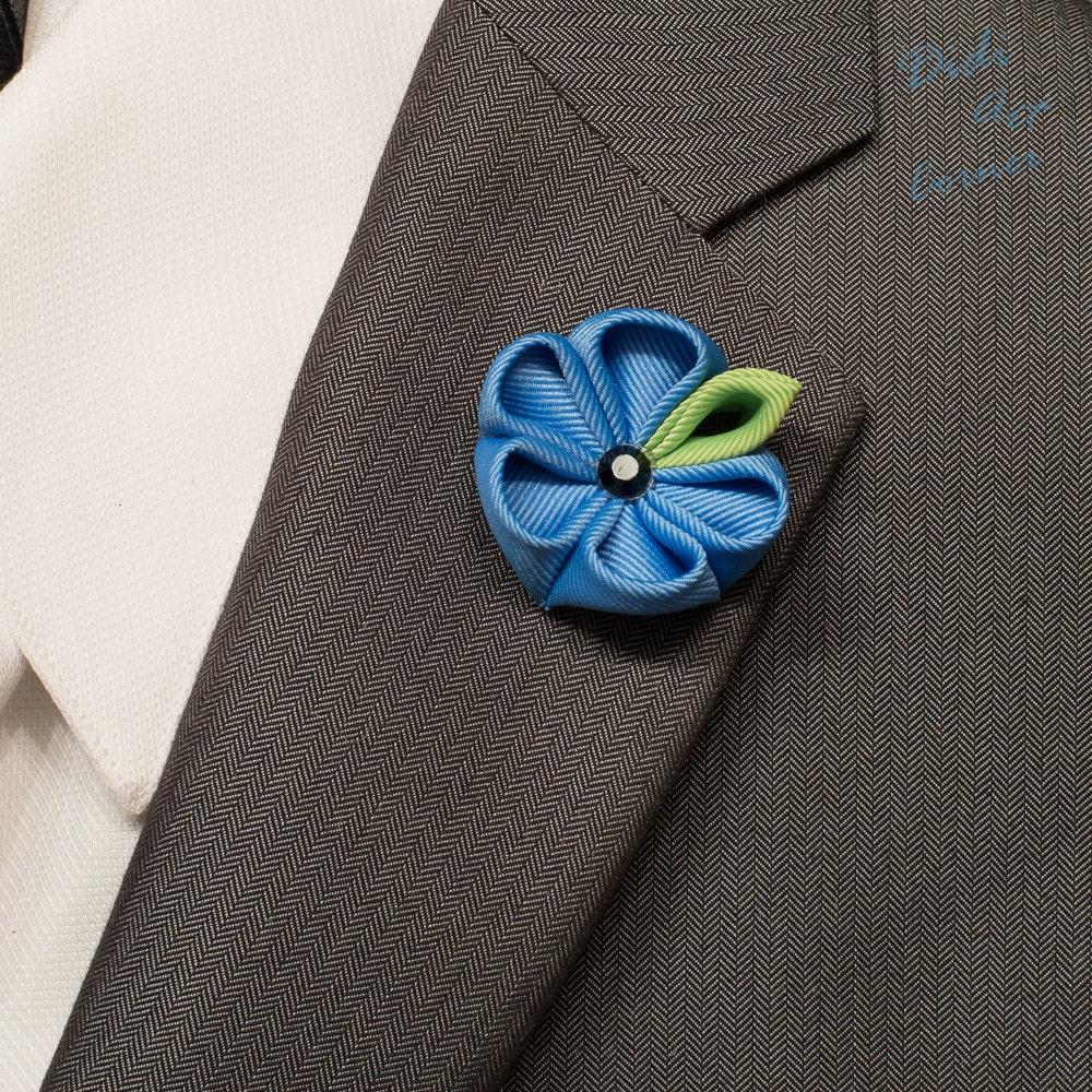 Stylish Beautiful Black Flower Lapel Pin: Lapel Pin Blue Kanzashi Flower Lapel Pin With Black Crystal