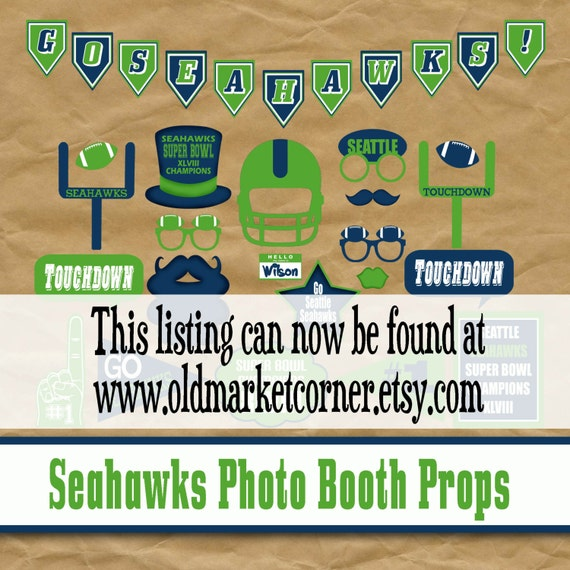 Seattle Seahawks Photo Booth Props - Printable - INSTaNT DOWNLoAD