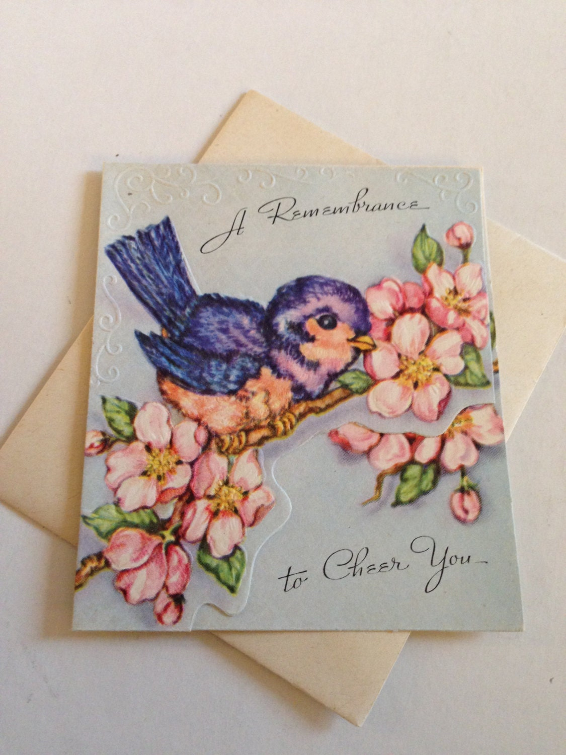 Vintage Birthday Or Sympathy Greeting Card Blue Bird Of Happiness