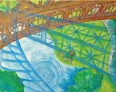 View From la Tour Eiffel:  High quality print of original watercolor painting