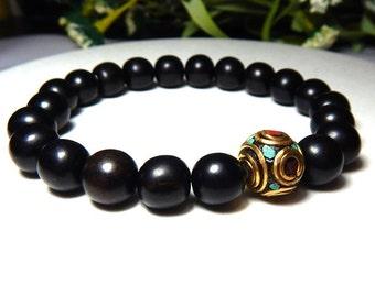 Mens Black Bracelet, Mens Bracelet, Mens Ebony Wood Bracelet, Mens Nepal Bead Bracelet, Gift for Him, Men Jewelry, Men Bracelets