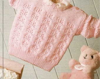 PDF Knitting Pattern Baby's Sweater PATONS Fairytale 4 Ply 41-61 cm Instant Download