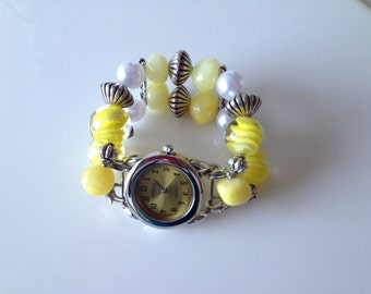 Double Stranded Yellow Beaded Watch Band (123)