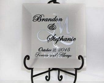 Personalized Dinner Plate - Wedding Date - House Warming - Thank You- Shower - Gift - Keepsake - Memories - Couple - Monogrammed - Custom