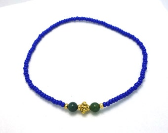 SALE - Blue with Green accent Beaded Bracelet - Modern Friendship Bracelet