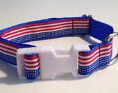 """Dog Collar 1"""" wide Red White & Blue Flag Pattern 2 sizes avail"""