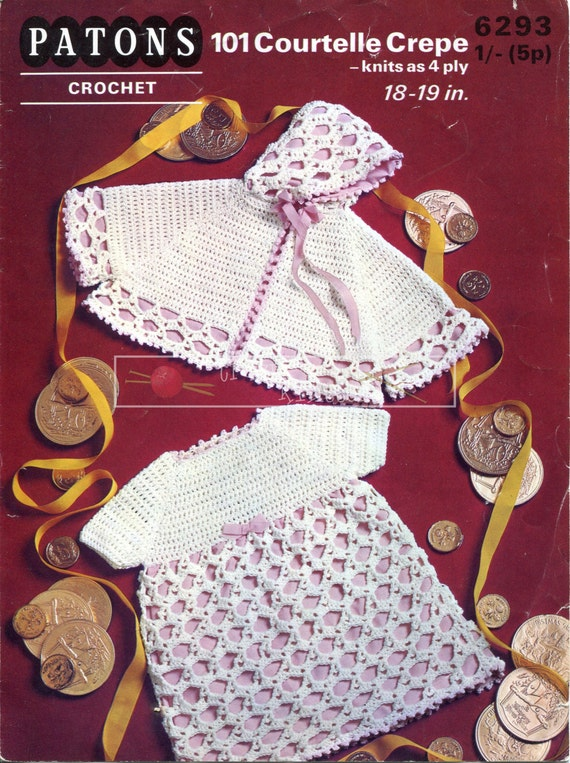 Baby Dress & Cape 4ply 18-19in Patons 6293 Crochet Pattern PDF instant download