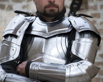 "Larp, larp armor, medieval costume, elven, fantasy: Armor Set ""Titan""  cuirass back and breastplate,  bracers,  pauldrons, gorget, greaves"