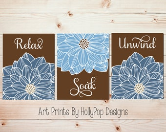 Bathroom Wall Art Blue Brown spa bathroom art prints Bathroom artwork Relax Soak Unwind Floral Burst Dahliah Wall Art Flower Prints #1049