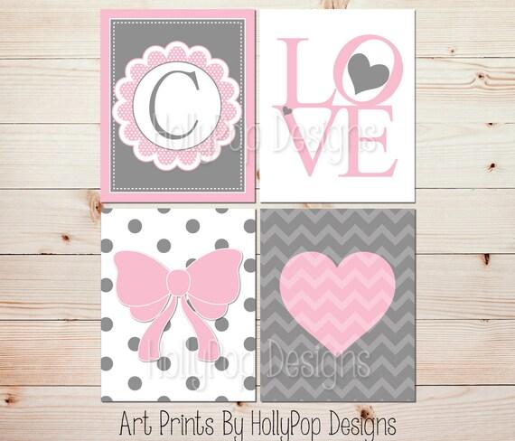 Grey Girl Wall Decor : Pink gray girls room wall art monogram print heart nursery