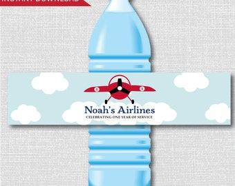 Vintage Airplane Party Water Bottle Labels - Airplane Birthday - Weatherproof Water Bottle Labels - Digital or Handcrafted - FREE SHIPPING