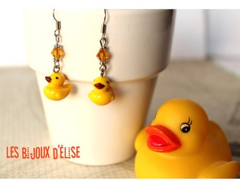 Little Yellow Duck Dangle Earrings Duck Earrings
