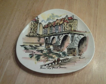 On Sale Collectible Hand Painted Triangle Plate of the Le Pont Marie in Paris Arrow Trademarked Wall Hanging