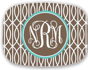 Personalized Melamine Platter-monogram Easter spring summer tray