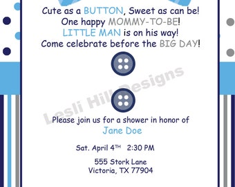 Buttons and Bow Ties Baby Shower/Birthday Invitation