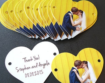 Wedding Favor Thank You Tag, Set of 50, Heart Shape, Die Cut