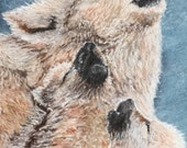 Fine Art 8x10 Print of Wolves from a pastel by me.