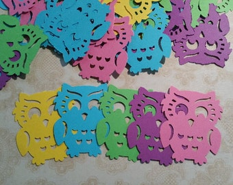 Colorful Die Punched Owl Shapes.   #DC-12